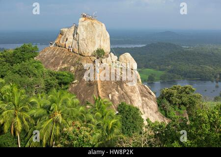 Sri Lanka, North Central Province, Anuradhapura, Mihintale, rock Aradhana Gala - Stock Photo