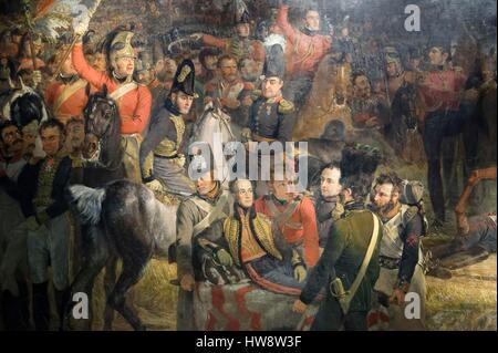 Netherlands, Northern Holland, Amsterdam, Museum district, Rijksmuseum, The Battle of Waterloo (1824) of Jan Willem - Stock Photo