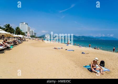 Vietnam, Khanh Hoa province, Nha Trang City, the beach - Stock Photo