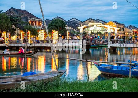 Vietnam, Quang Nam province, Hoi An, old town listed as World Heritage by UNESCO, along the Thu Bon River - Stock Photo