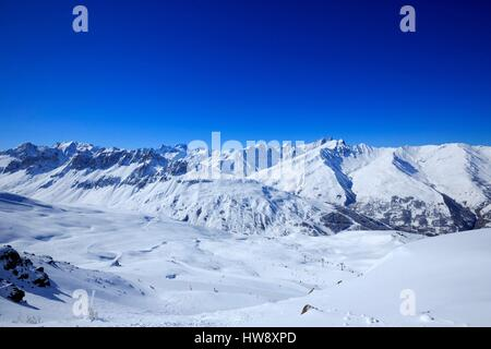 France, Savoie, Valley Maurienne, Valloire, The Crey du Quart, Ecrins and Needles of Arves (3514m) in the background - Stock Photo