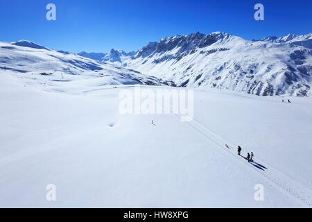 France, Savoie, Valley Maurienne, Valloire, The Crey du Quart, The Mitre (2720m) and the Black Hands (2869 m) in - Stock Photo