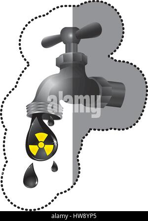 silver faucet with drop water contaminated - Stock Photo