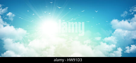 Early morning sky background, sunlight through white clouds and free birds flying away - Stock Photo