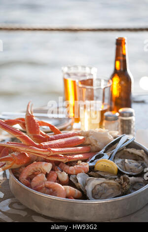 Seafood at Caps on the Water in St. Augustine Beach, FL - Stock Photo