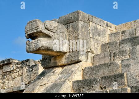 Snakehead, Plataforma de Venus, Venus Platform, historic Mayan city of Chichen Itza, Piste, Yucatan, Mexico - Stock Photo