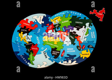 Countries of the world jigsaw with missing pieces.. - Stock Photo