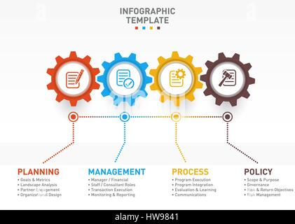 Vector business and industry gear style circle infographic - Stock Photo