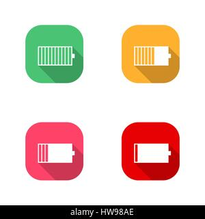 Set of square icons battery charge level, low, medium, full. Flat style with a long diagonal shadow, the horizontal - Stock Photo