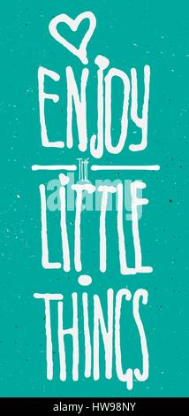 Enjoy little things watercolor and ink lettering - Stock Photo