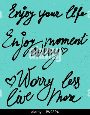 Enjoy your life, every moment watercolor vector lettering - Stock Photo