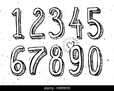 Hand drawn numbers vector isolated on white background sketch style - Stock Photo