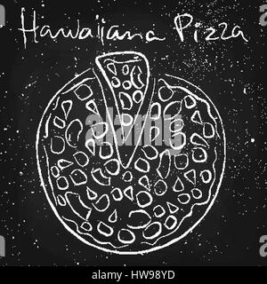 Hawaiiana pizza, drawn in chalk on a blackboard - Stock Photo