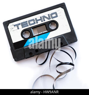 techno music dance musical genres audio tape label - Stock Photo