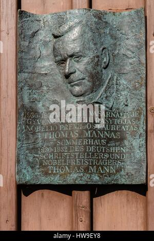 Memorial plaque at the former holiday home of the German writer Thomas Mann in Nida, Coronian Spit, UNESCO World - Stock Photo