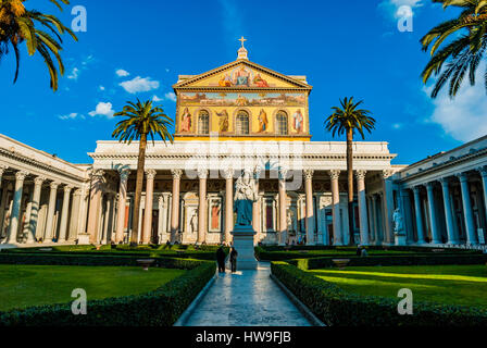 Basilica of Saint Paul Outside the Walls is one of Rome's four ancient major basilicas or papal basilicas. Rome, - Stock Photo