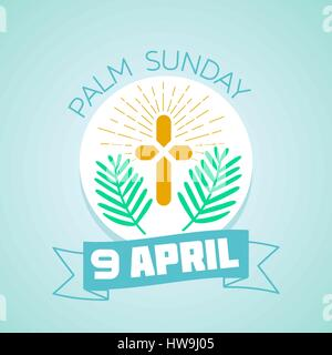 Calendar for each day . Greeting card. Holiday - palm Sunday. Icon in the linear style - Stock Photo