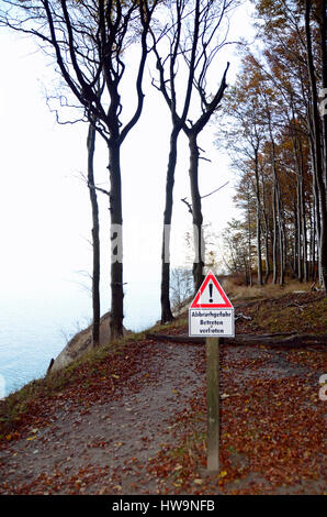 Warning sign, steep cliff,  Nationalpark Jasmund, Ruegen Island - Stock Photo
