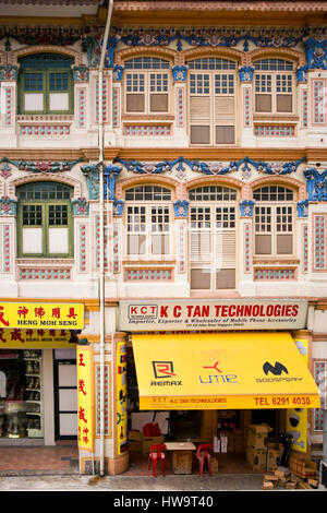 Vertical view of decorative terraced buildings in Singapore. - Stock Photo
