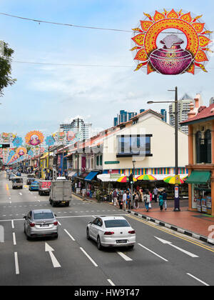 Vertical streetscape of Serangoon road with Chinese New Year decorations in Singapore. - Stock Photo