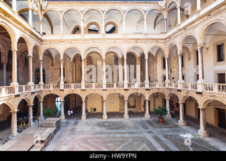 PALERMO, ITALY - JUNE 24, 2011: courtyard of Palazzo dei Normanni (Palace of the Normans, Palazzo Reale) in Palermo - Stock Photo