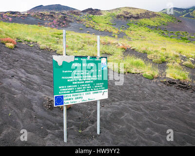 ZAFFERANA ETNEA, ITALY - JULY 7, 2011: Road Sing about area of Natural Pak on Etna Mount (Parco dell Etna) in Sicily. - Stock Photo