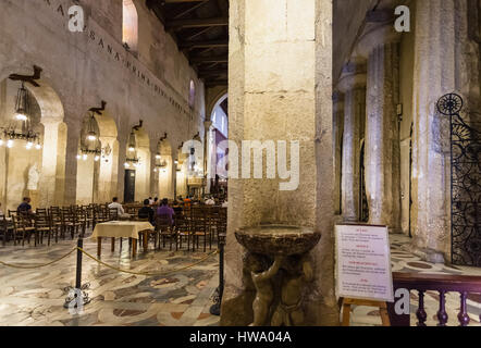 SYRACUSE, ITALY - JULY 3, 2011: interior of Duomo di Siracusa (Cathedral of Syracuse) in Sicily. The present cathedral - Stock Photo