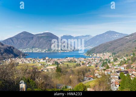 Lake Lugano, Porto Ceresio, Italy. Picturesque aerial view of Porto Ceresio and Besano. In the background Switzerland - Stock Photo