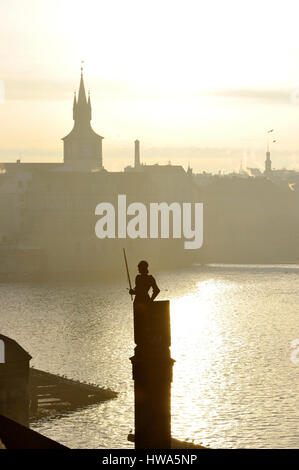 Czech Republic, Central Bohemia, Prague, historical center listed as World Heritage by UNESCO, The Charles Bridge - Stock Photo