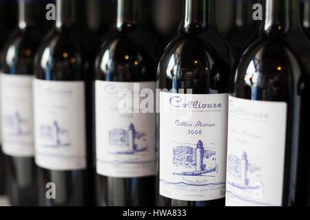 France, Pyrennes Orientales, Vermillion Coast Area, Collioure, local wine bottles - Stock Photo