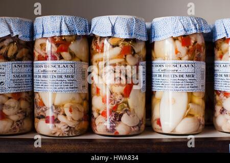 France, Pyrennes Orientales, Vermillion Coast Area, Collioure, seafood in jars - Stock Photo