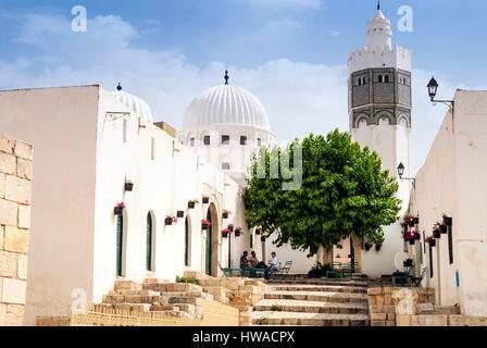 Tunisia, Northwest region, El Kef or Le Kef, Minaret of mosque of Sidi Bou Makhlouf - Stock Photo