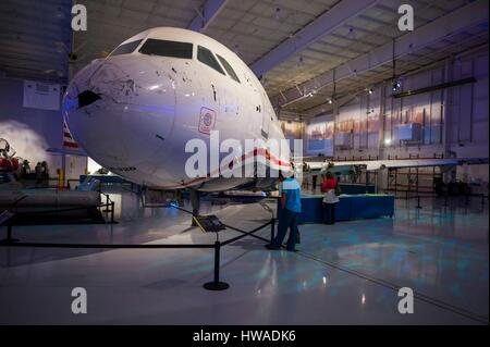 United States, North Carolina, Charlotte, Carolina's Aviation Museum, interior, display for US Airways Fight 1549 - Stock Photo