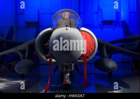 United States, North Carolina, Charlotte, Carolina's Aviation Museum, interior, Harrier VTOL jet - Stock Photo