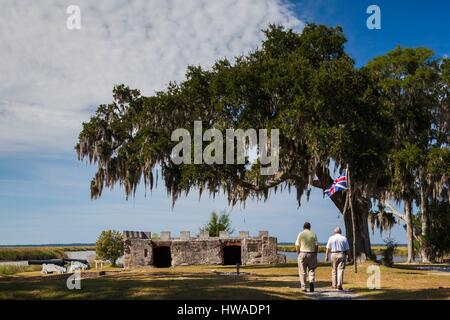 United States, Georgia, St. Simons Island, Fort Frederica National Monument, ruins of Fort Frederica - Stock Photo