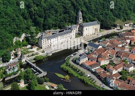 France, Dordogne, Brantome, Pont Coude (angled bridge) over Dronne River and Saint Pierre benedictine abbey (aerial - Stock Photo