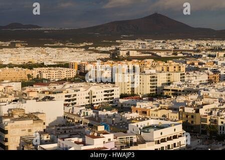Spain, Canary Islands, Lanzarote, Arecife, elevated city view, morning - Stock Photo