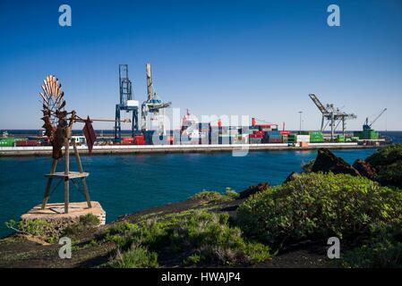 Spain, Canary Islands, Lanzarote, Arecife, Muelle Los Marmoles, port - Stock Photo