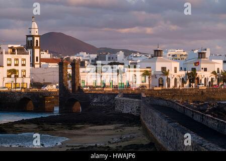 Spain, Canary Islands, Lanzarote, Arecife, Puente de Las Bolas bridge - Stock Photo