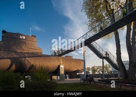 Germany, Rheinland-Pfalz, Speyer,Technik Museum Speyer, German U9 submarine - Stock Photo