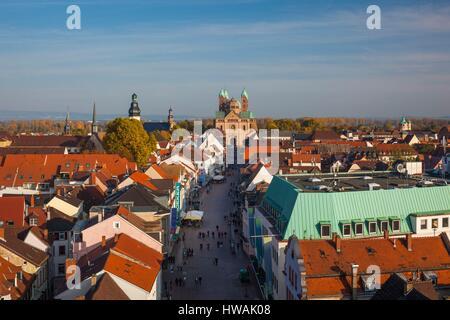 Germany, Rheinland-Pfalz, Speyer, elevated view of Maximilianstrasse from Altportel city gate - Stock Photo