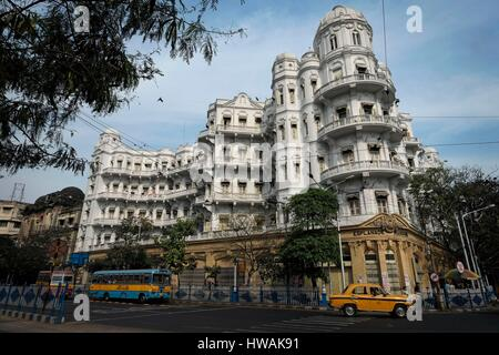 India, West Bengal State, Calcutta or Kolkata, a residential building, Esplanade Mansions, in central Calcutta / - Stock Photo