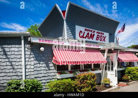 United States, Massachusetts, Ipswich, The Clam Box of Ipswich restaurant, exterior - Stock Photo
