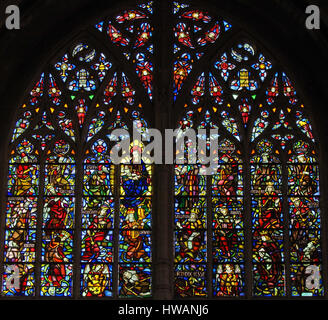 Stained Glass in the Church of Our Blessed Lady of the Sablon in Brussels, Belgium, depicting a Tree of Jesse - Stock Photo