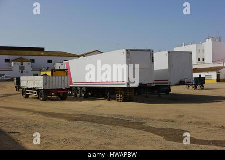 Trucks waiting load - Stock Photo