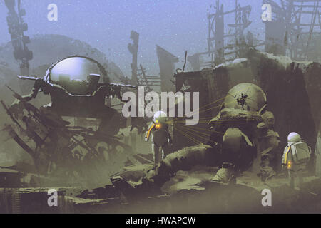 exploration sci-fi concept of two astronauts found a dead spaceman in abandoned planet,illustration painting - Stock Photo