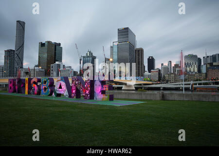 Southbank, Brisbane, Queensland, Australia. Image taken from the Southbank parklands side of the city. - Stock Photo