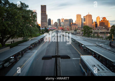 Brisbane city as seen from the Southbank bus station. - Stock Photo