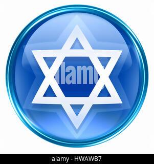 David star icon blue, isolated on white background. - Stock Photo