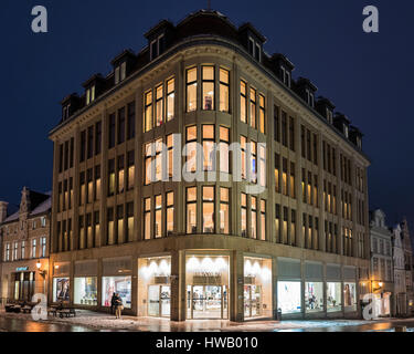 Karstadt original company building in Wismar opened by Rudolph Karstadt on May 14, 1881 - Stock Photo
